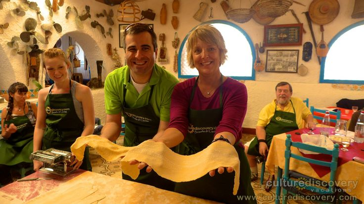 "Making pasta from scratch during one of our cooking classes in Sicily - One of the experiences on Culture Discovery Vacations' ""Cooking & Adventure on the Islands of Sicily"" cooking, culinary and wine tours in Italy. http://www.culturediscovery.com/sicily-italy-cooking-vacation/cooking-a-adventure-on-the-islands-of-sicily.html"