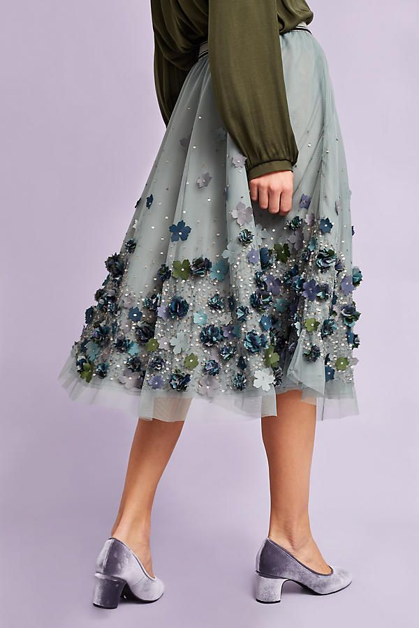Sienna Embellished Tulle Skirt, Blue. Elegant petals flutter atop this occasion-ready midi skirt. From Not So Serious by Pallavi Mohan.
