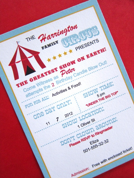 Circus Party Kit ~ Invitation