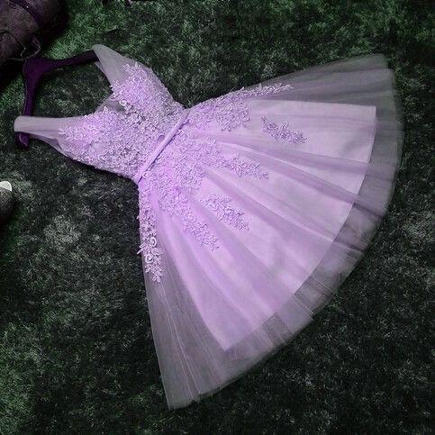 Beautiful Lavender Short Tulle Handmade Prom Dress,
