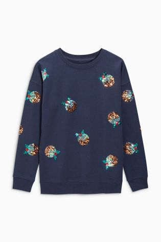 Our navy sequin Christmas pudding jumper is sure to get you in the mood for Christmas dessert!