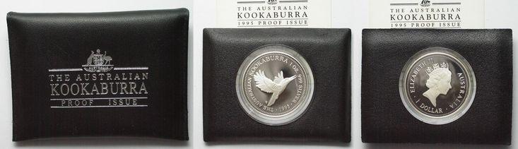 1995 Australien 1 oz silver AUSTRALIAN KOOKABURRA 1 Dollar 1995 in folder w. cert. Proof # 94519 Proof