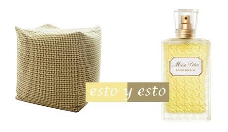 Puf pied de poule / EbanoDeco . Perfume / Miss Dior