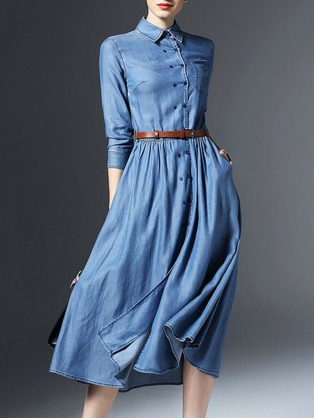 Blue Plain Belts V neck 3/4 sleeve Swing Simple Pockets Buttoned Denim Midi Dress with Belt