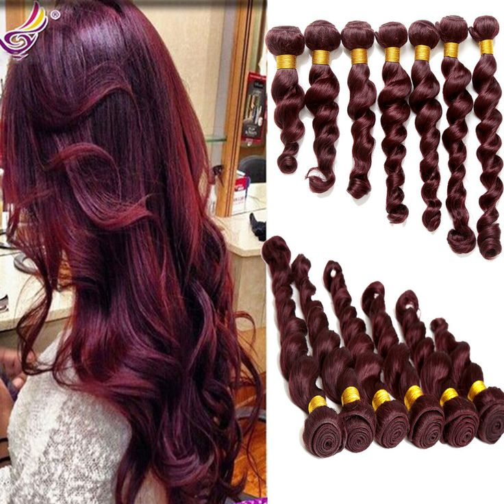 """2015 Style 100g/PC Loose Wave Color 99J#  Brazilian Human Hair 10""""30"""" Extensions #WIGISS #HairExtension"""