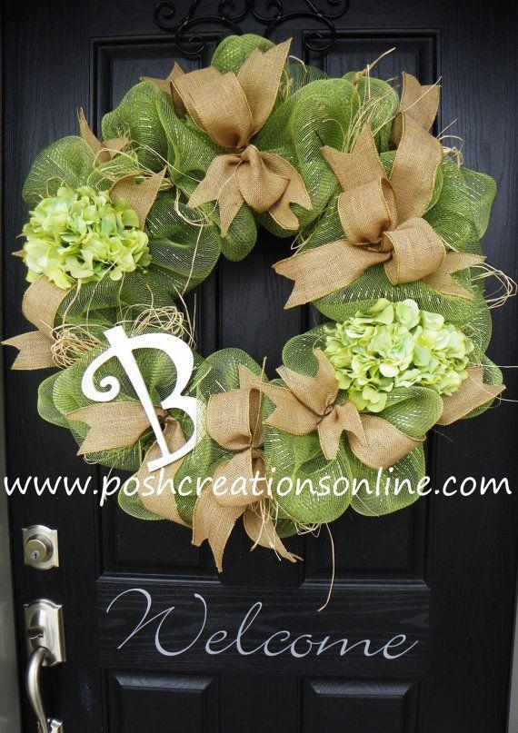 Spring Green Spring Wreath  Summer Mesh Wreath by poshcreationsKY, $95.00