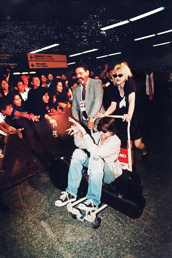 Courtney & Kurt arrive in Brazil. January 15, 1993.