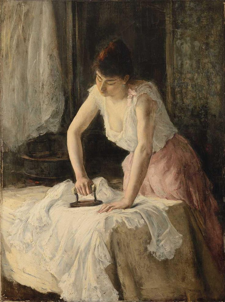 """Henri MICHEL-LÉVY (1844-1914) """"La repasseuse"""" Huile sur toile Signée en bas à droite 130 x 98 cm."""