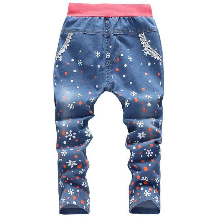 Девочки джинсы свободного покроя дети одежда прямой снежинки узор в горошек девочки брюки деним брюки милый осень девочки одежда 4-8Y