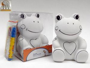 Detalle infantil hucha rana de ceramica para pintar para regalar a los niños #Grandetalles