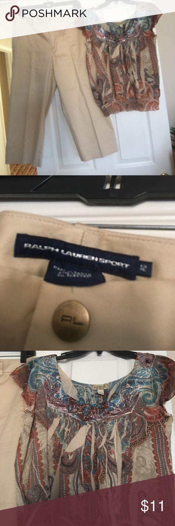 Ralp Lauren Capri Pants and free top Never worn cotton crop pants and this gorgeous top is all yours just in time for summer Lauren Ralph Lauren Pants Capris