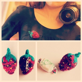 A Strawberry Brooch and a DIY model