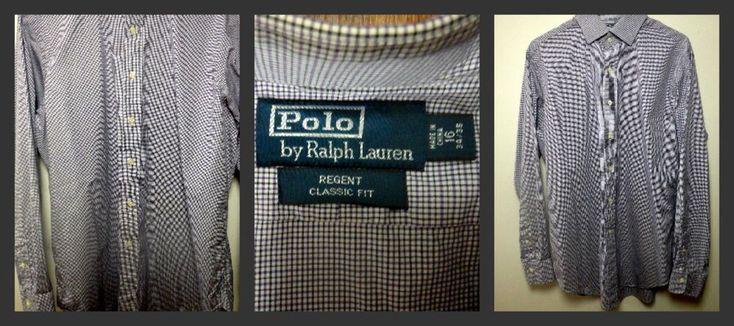 Classic Fit Regent Ralph Lauren Polo Shirt L/S Sz 16 34/35 Plaid Purple Blk Mens #RalphLauren