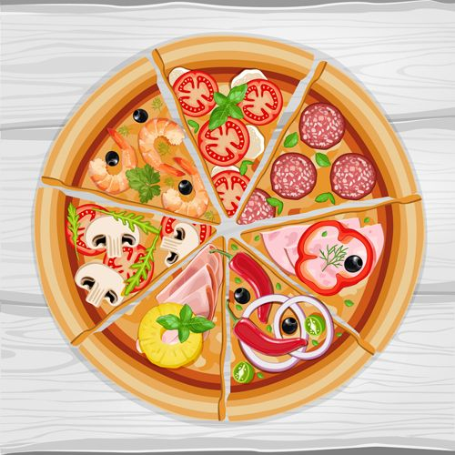 Pizza slice and wooden background vector