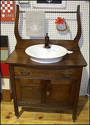 cw1826 antique washstand with american standard morning vessel rh pinterest com antique bathroom washstand Reproduction Washstand