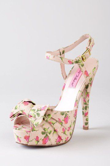 Strappy Heels - peep toe - pink and green
