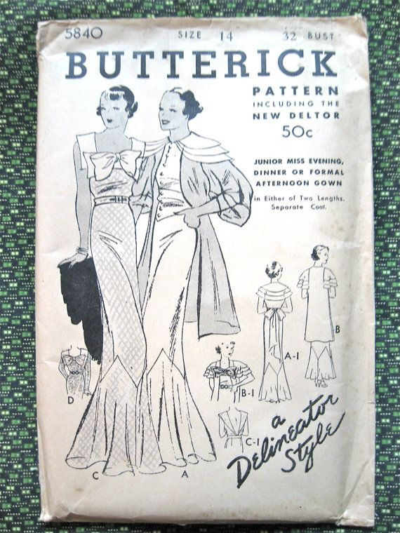 1930s Vintage Gown And Jacket Sewing Pattern By Butterick 5840 Bust 32 Inches