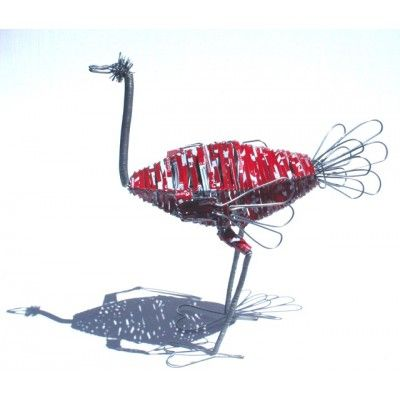 Ostrich Coca Cola Sculpture Recycled Handmade Artwork