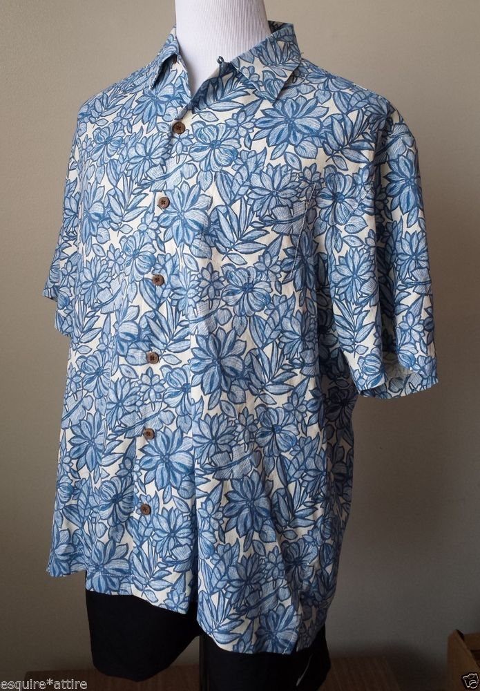 Tommy Bahama Men Size L Short Sleeve Hawaiian Shirt Lily