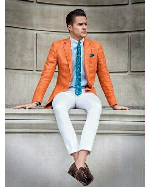 Styleonlymen #men #fashion #red #blazer #tie #white #trousers #loafers