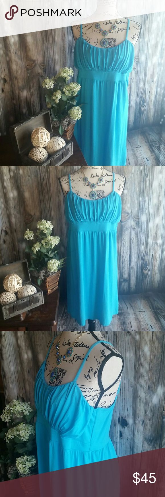 NWT INC sundress Fun and flirty aqua blue sundress, empire waistline, with ruching detail. Has lining in the top of dress, sewn in wide waistband.  Adjustable spaghetti straps, no damage or flaws. INC International Concepts Dresses
