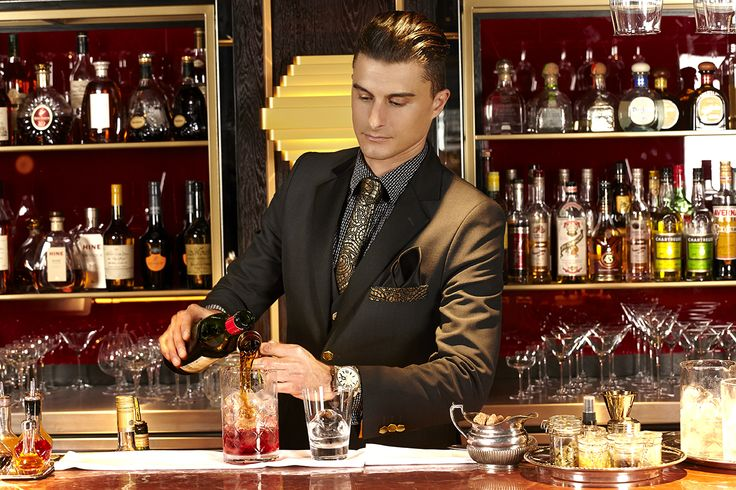 How about a drink? Quaglino's Bar Manager in his stunning Studio 104 uniform. The finest details were considered, with the Quaglino's branding featuring on the jacket buttons and cufflinks!