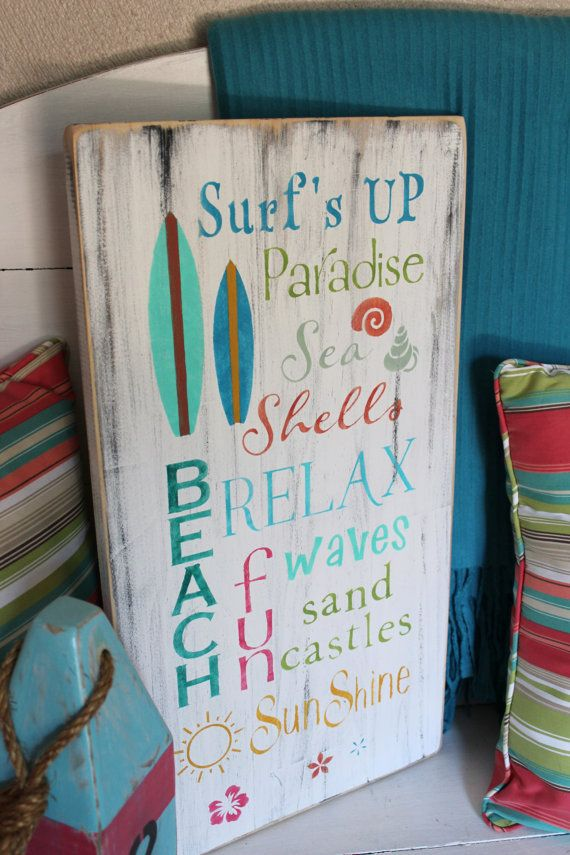 Beach Words Sign Subway Style Coastal Cottage by justbeachyshop