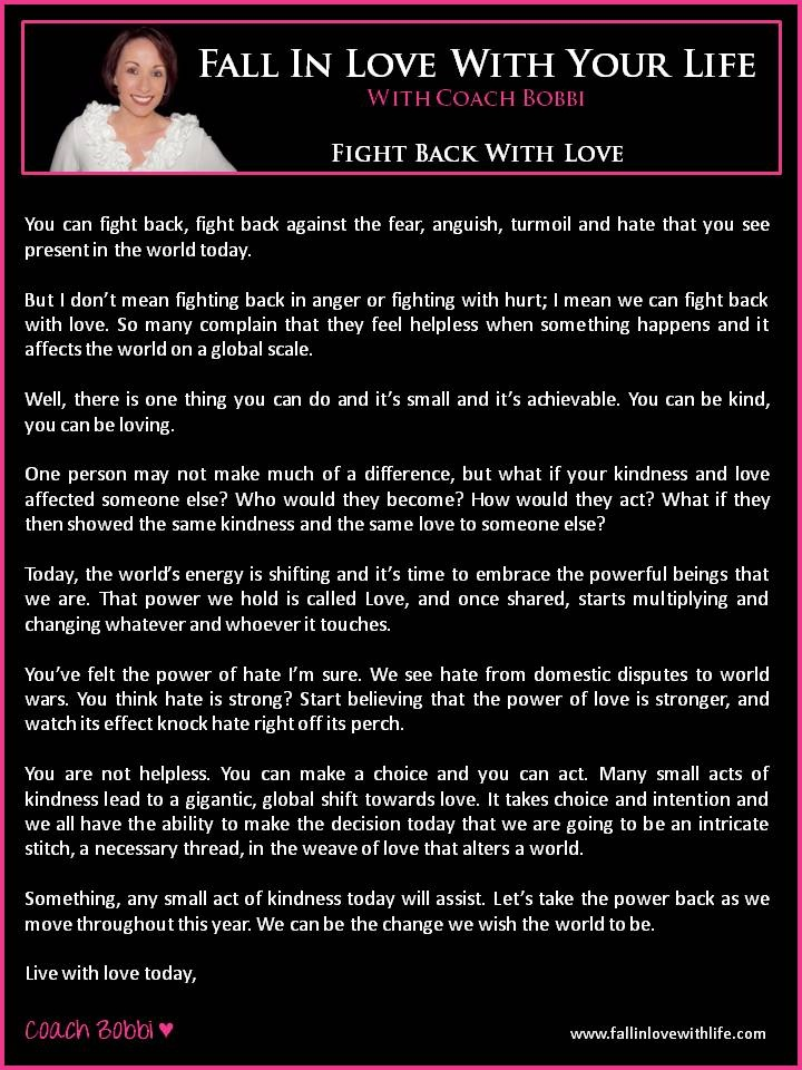 Fight Back With Love  © Ask Coach Bobbi