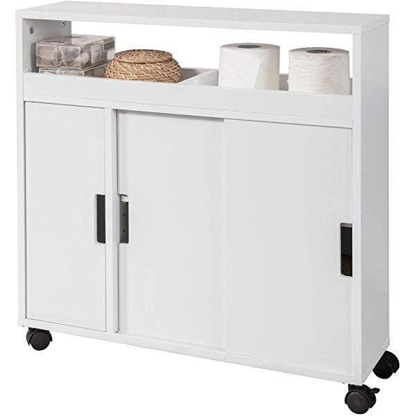 Sobuy Bzr02 W Meuble De Rangement Salle De Bain Armoire Wc Meuble Wc Pour Papier Toilette Porte Brosse Wc Locker Storage Storage Lockers