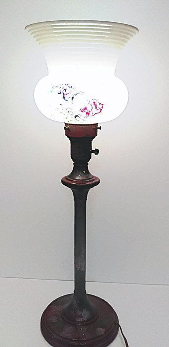 vintage Table Lamp Tall Lamp Milk Glass Shade and Metal Hand Made Painted  End Table Accent Lamp by GenesisVintageShop on Etsy