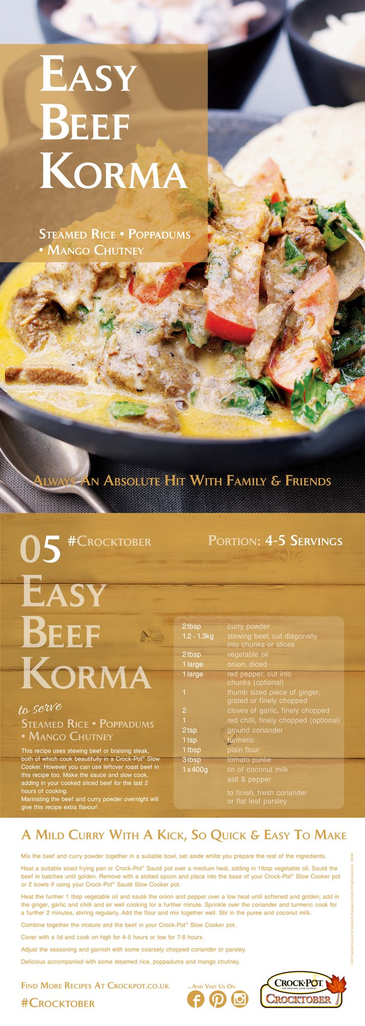 Easy Indian Beef Korma Curry in a Crock-Pot Slow COoker, an absolute hit with family and friends and so easy to make! Serves 4-5.