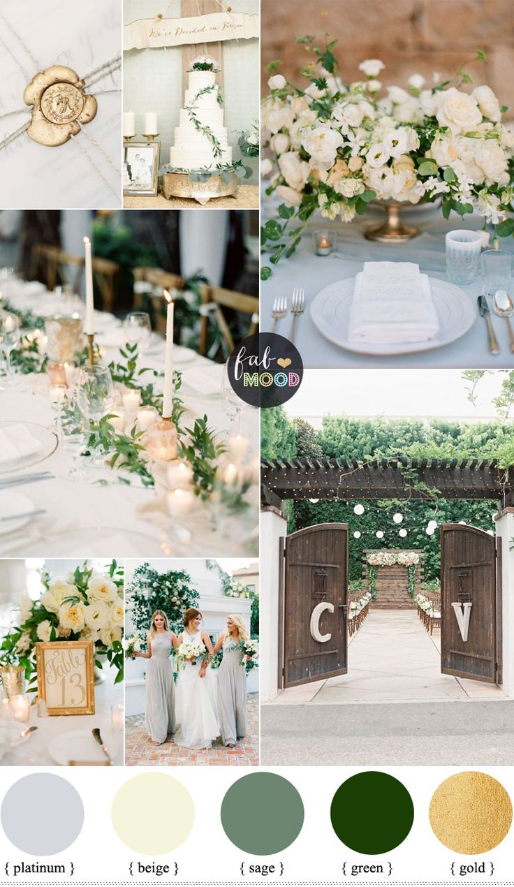 Gold and Green Wedding Colours Perfect For An Elegant,Fresh, Natural Wedding Palette This green has a yellow tint behind it, so it pairs perfectly with rich