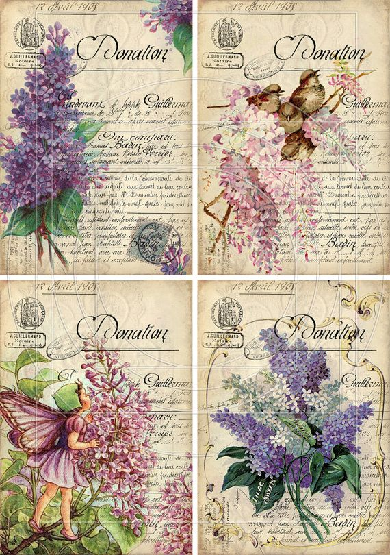INSTANT DOWNLOAD diGiTal CollAge Sheet LiLACS ViNtage by bitmap, $4.25