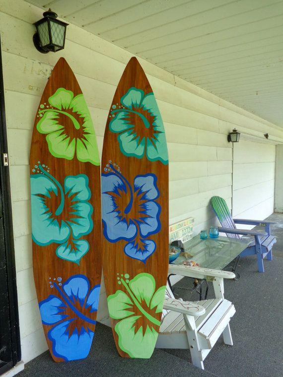 6 Foot Wood Hawaiian Surfboard Wall Art door SerendipitySurfShop
