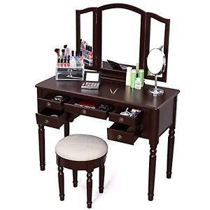 Makeup Vanity Set Stool Folding Mirrors Dressing Table Bedroom Drawer Jewelry