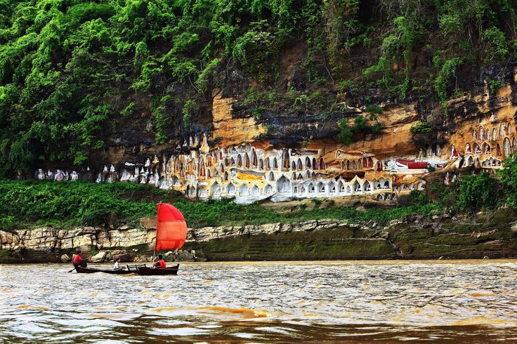 Akouk Taung in Pyay, located on the Eastern bank of Ayeyarwady River. The Myanmar sailors curved countless Buddha images on the steep cliff side of  the Ayeyarwady River bank during the period of mid 19th century.  For more information, please visit www.tourism.gov.mm