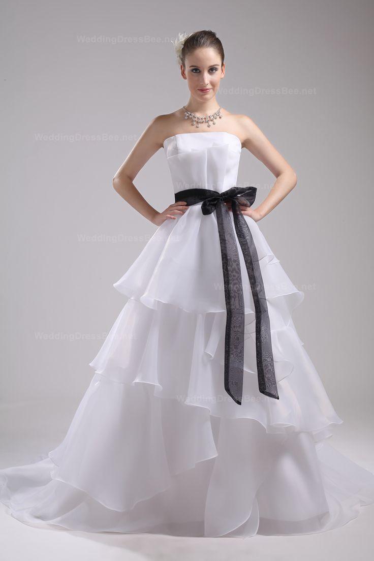 Elegant Strapless Satin Organza Wedding Dress With Detachable Sash Decoration
