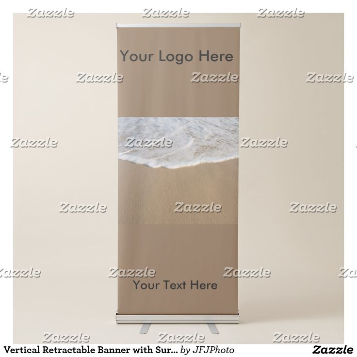 Vertical Retractable Banner with Surf on Beach