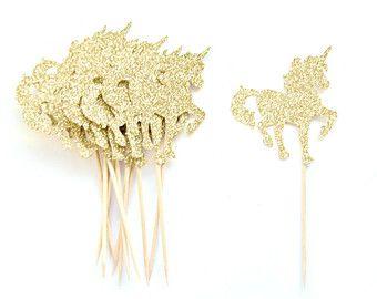 12 Gold Glitter Unicorn Cupcake Toppers - Unicorn Cupcake Toppers, First Birthday Cupcake Toppers, Girl Cupcake Topper, Fairy Tale Party