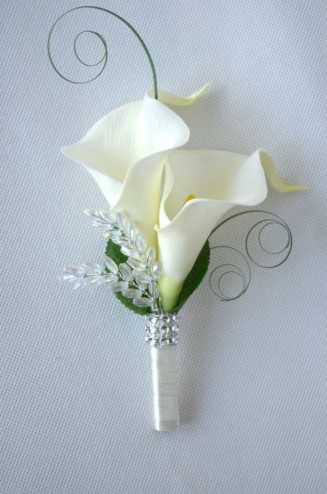 Calla Lilies wedding ladies corsage or double buttonhole ...
