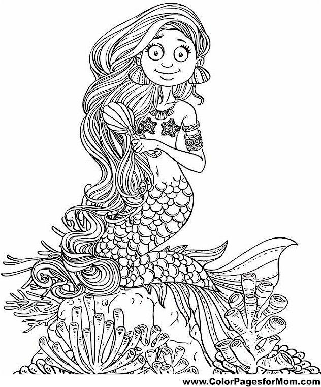 Mermaid Coloring Page 27 | Mermaid coloring book, Mermaid ...