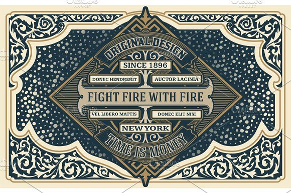 Old Card with central Logo. Western style by OneVectorStock on @creativemarket