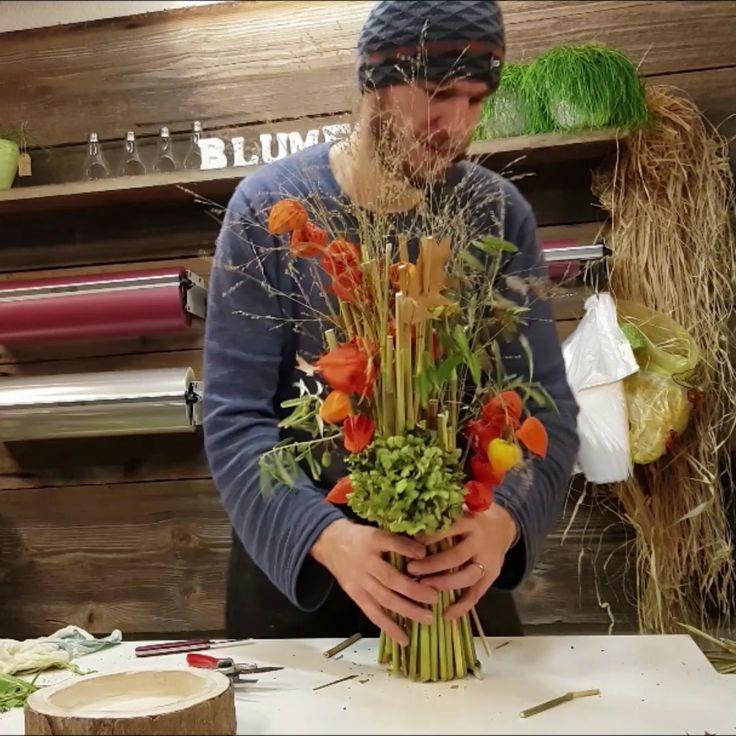 Herbst Deko Stehstrauss aus Naturmaterialien