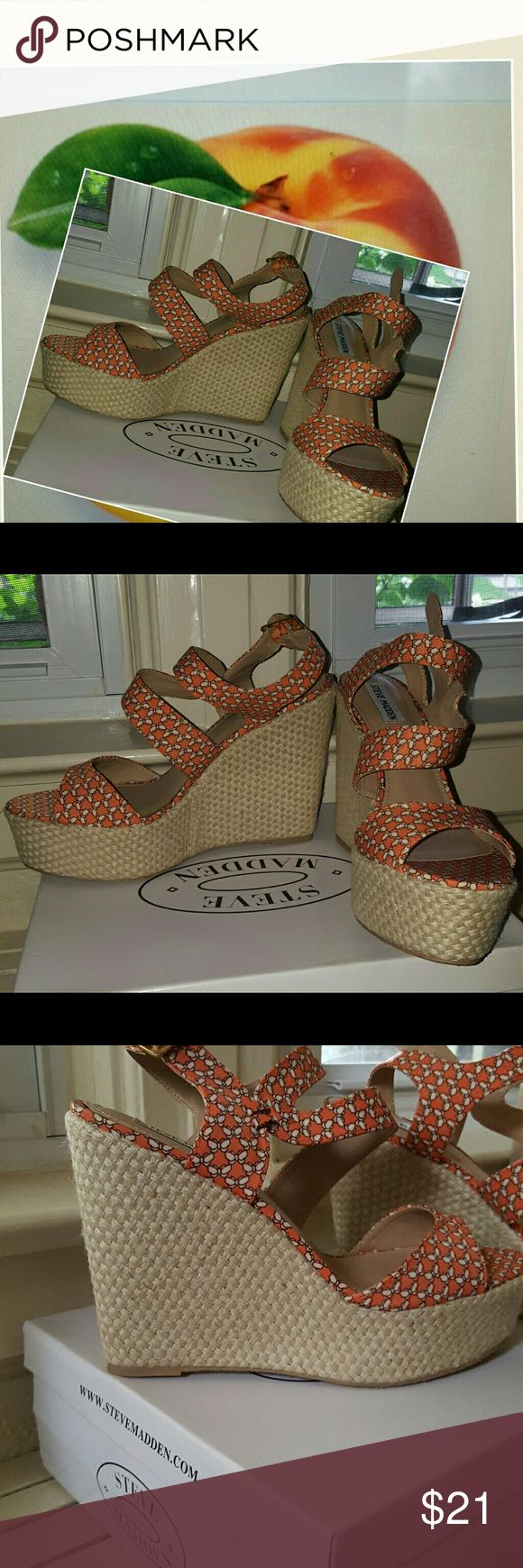 New Steve Madden Georgia Peach wedges 9.5 FINAL Brand new in box. Rubber sole. The kind of print could really wear with anything. Which is 4 inches. True to size no bundling at sale price Steve Madden Shoes Sandals