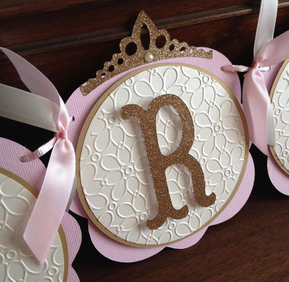 Pink and Gold Princess Baby Shower Banner by SweetMiranda on Etsy