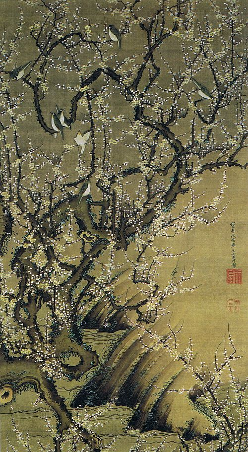 Plum Blossoms and Birds by Jakuchu Ito