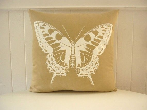 Butterfly pillow , off white