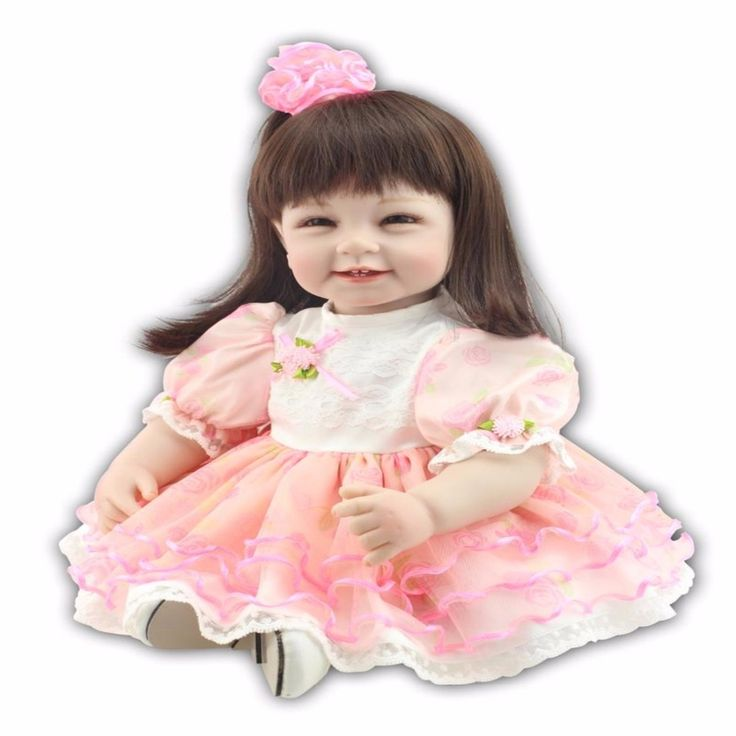 83.59$  Buy here - http://alisr2.shopchina.info/1/go.php?t=32633302397 - 22 inch 55cm  baby reborn Silicone dolls, lifelike doll reborn babies for Children's toys pink Princess Dress smiling face baby  #buyonline