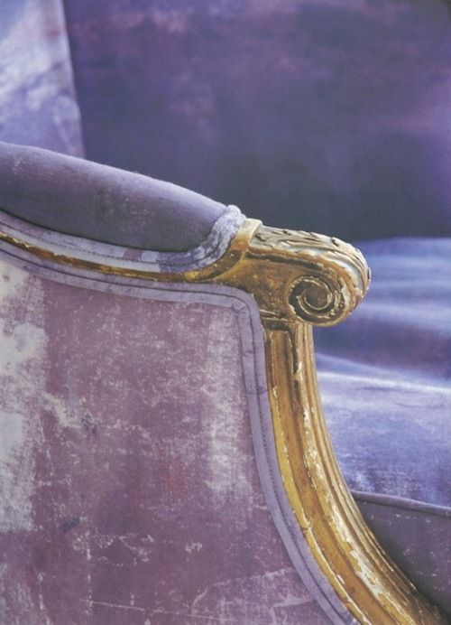 Beautiful soft lavender velvet worn in all the right places.