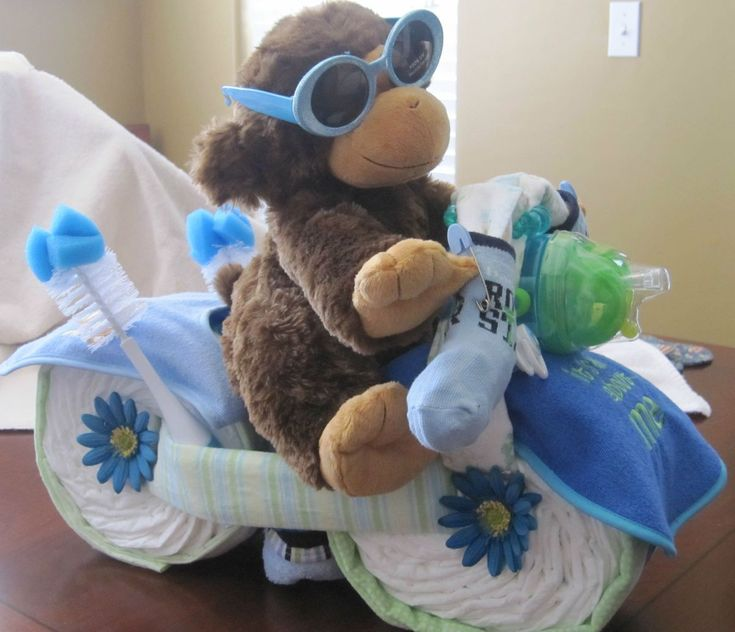Baby Shower Motorcycle Diaper Cake Centerpiece Hospital Gift